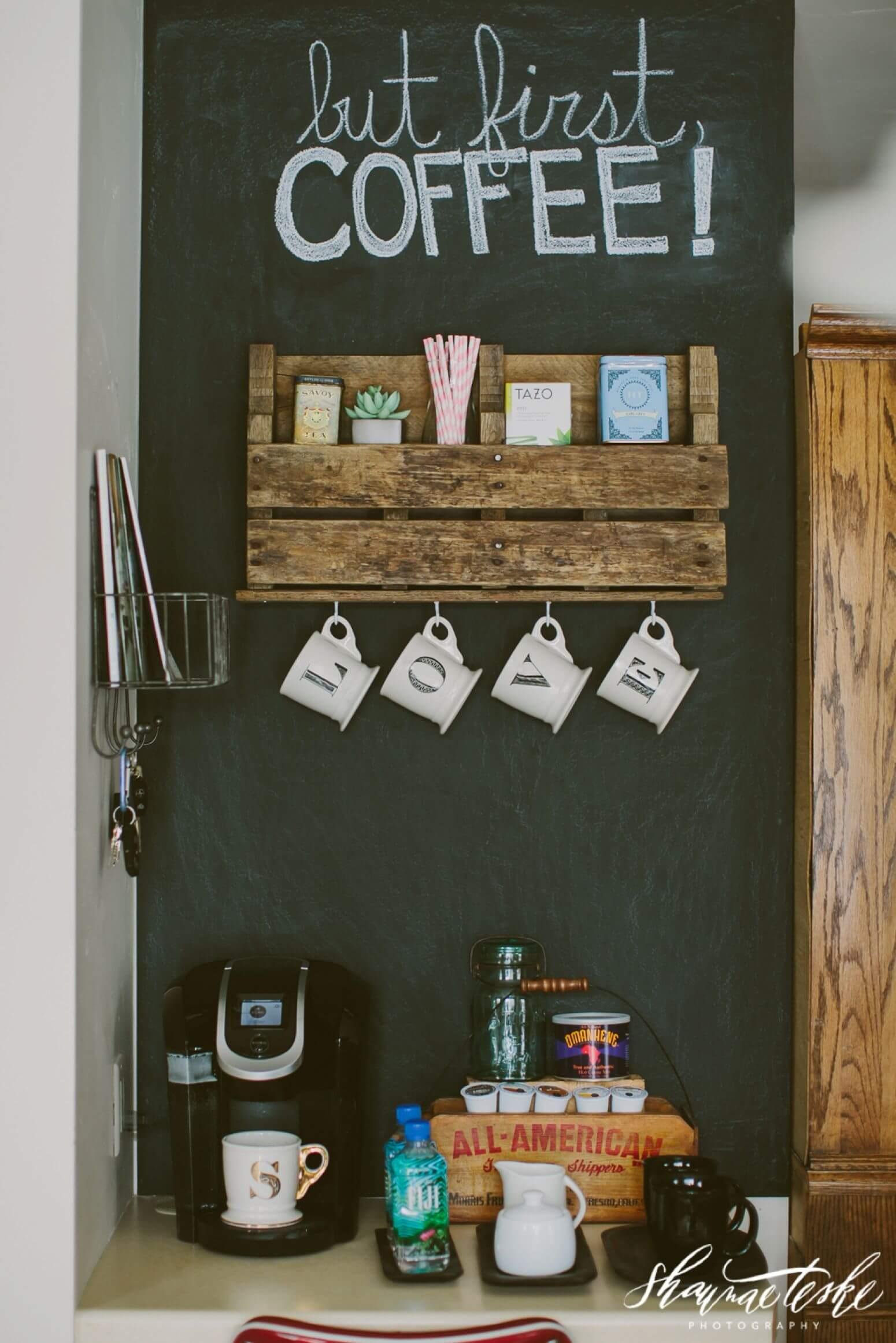 Pallet Shelf Coffee Bar Ideas Cuethat