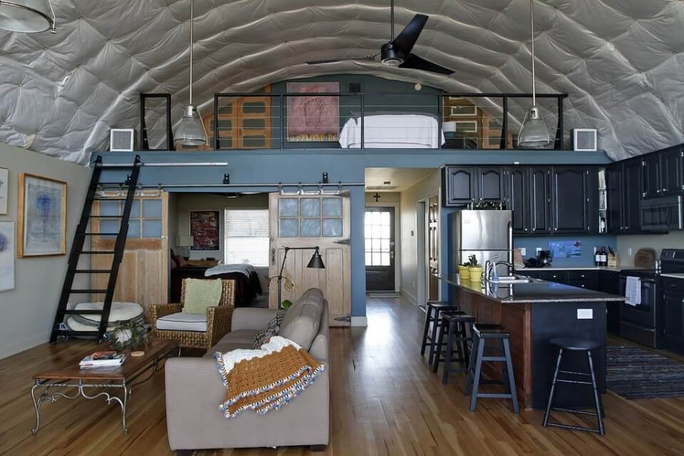 The interior of the quonset hut homes