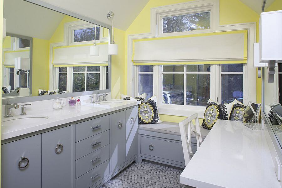 Wall Color Yellow for Gray Cabinets
