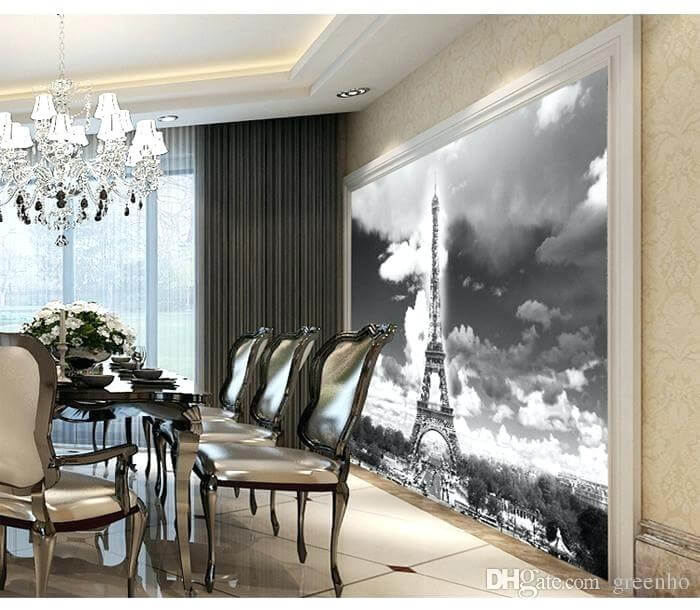 Paris Wall Mural Modern Dining Room Round Table Black And White Add Life To Your Walls Cite Murals Wallpaper