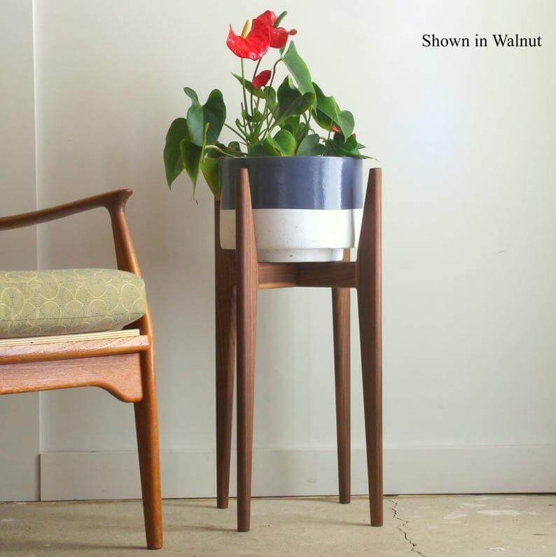 Mid century modern plant stand, original design for large or small planter, hand made solid wood, made in canada, pot not included.