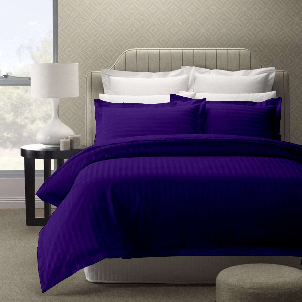 Cloth Fusion Amora 210TC Sateen Stripe Bedsheet with 1 Pillow Cover-Single, Purple
