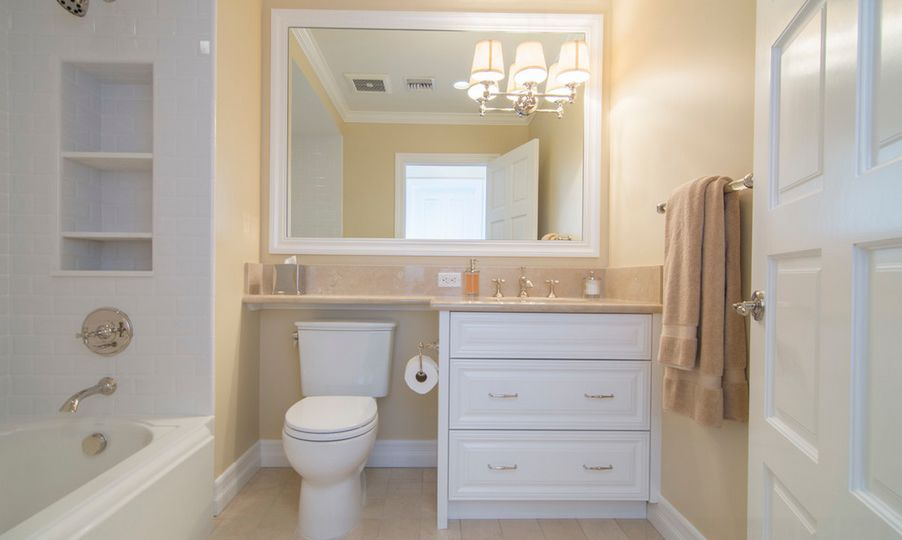 Small Bathroom Design Ideas Extend the counter over the toilet